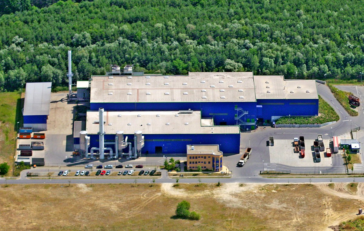 Aerial view of the plant in Niederlehme