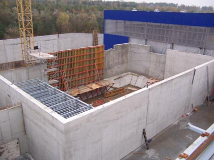 Shell construction of the underground bunker shortly before completion